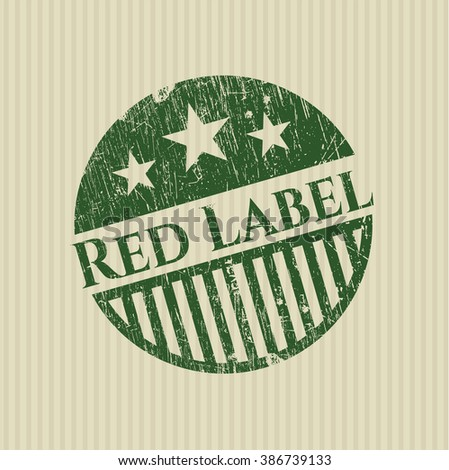 Red Label with rubber seal texture