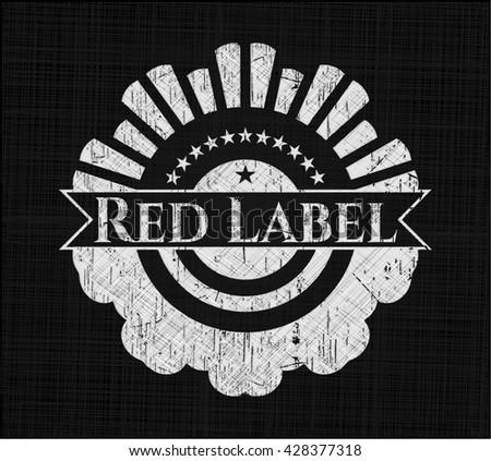Red Label written on a chalkboard