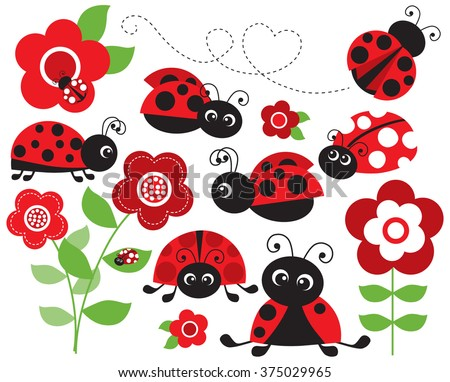 red ladybug garden
