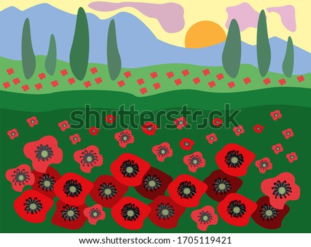 red landscape poppy field