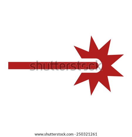 red laser beam ray icon for