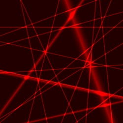 Red laser random beams on dark background