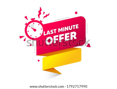 Red last minute offer button sign. Alarm clock countdown logo. Quality badge banner. Last minute with clock for promotion. Special offer countdown time for sale. Last chance button. Promo vector