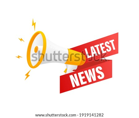 Red latest news megaphone on white background for flyer design. Vector illustration in flat style.