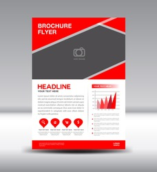 Red Leaflet template and info graphics vector design,Brochure flyer template, leaflet, catalog, magazine ads