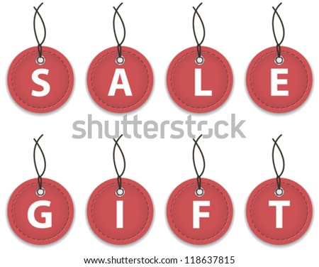 Red leather labels with the words sale and gift. Price tags. Vector illustration