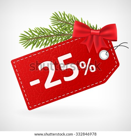 Red leather price christmas vector labels 25 twenty-five percent sale off.