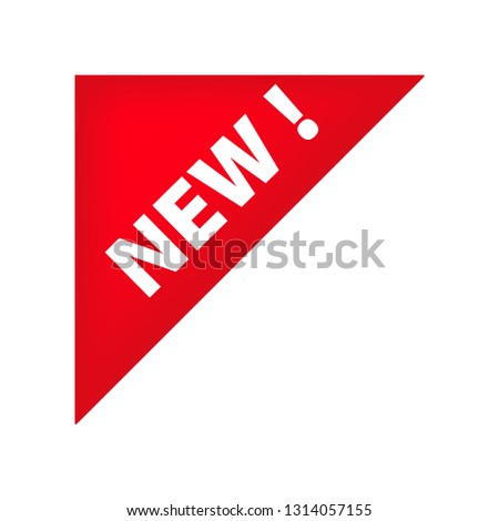 Red left top corner tag with New banner. New collection, arrival, novelty tag. Sale banner concept. Vector illustration can be used for stickers, leaflets, posters