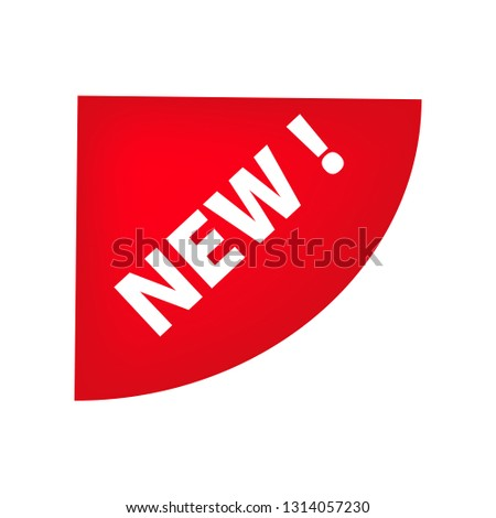 Red left top semicircle corner tag with New banner. Novelty, new product, new collection. Sale banner concept. Vector illustration can be used for stickers, leaflets, posters