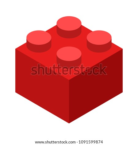 red lego brick block or piece