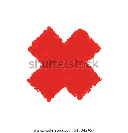 Red Letter X made with brush paint ink. Mark grunge style. vector illustration