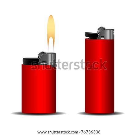 Red lighter set eps10