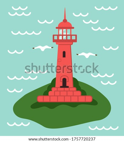 red lighthouse at small green