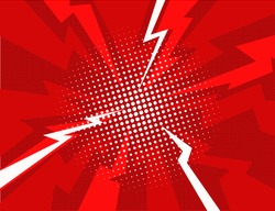 Red lightning explosion pop art comic style background