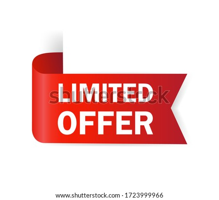 Red limited offer. Special offer badge. Big sale special offer. Red ribbon vector. Vector background. Store label. Vector illustration. Foto d'archivio ©