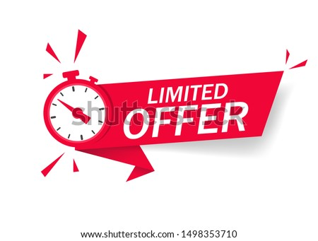 Red limited offer with clock for promotion, banner, price. Label countdown of time for offer sale or exclusive deal.Alarm clock with limited offer of chance on isolated background. vector illustration Foto d'archivio ©