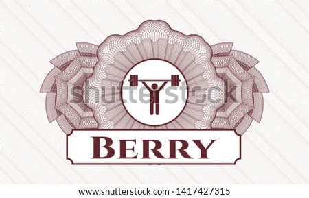 Red linear rosette with weightlifting icon and Berry text inside