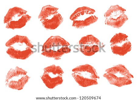 red lipstick kiss isolated on