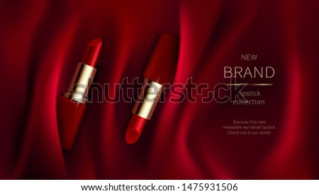 Red lipstick on bright scarlet silk or velvet fabric background with soft folds, realistic cosmetic vector illustration. Open tubes with cosmetics for women makeup, advertising poster for magazine