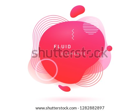 Red liquid blob with lines and circle. Coral abstract fluid spot as template for logo background. Crimson gradient aqua blotch for modern card design. Dynamical colored circles and lines in free shape