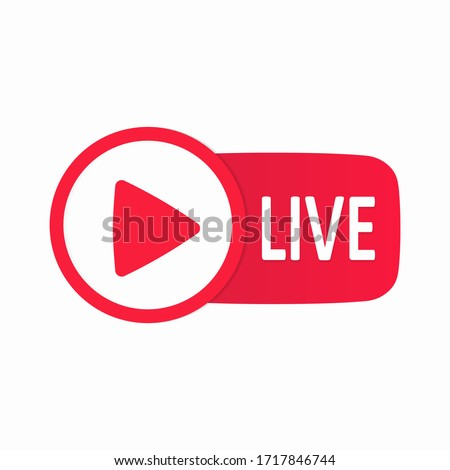 Red Live button isolated on a white background. Live button template. Web layout button in the live. The concept of social networks. History. Blogging. Vector illustration