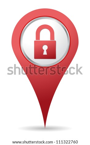 red location padlock icon for maps