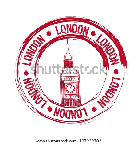red london stamp over white background. vector illustration