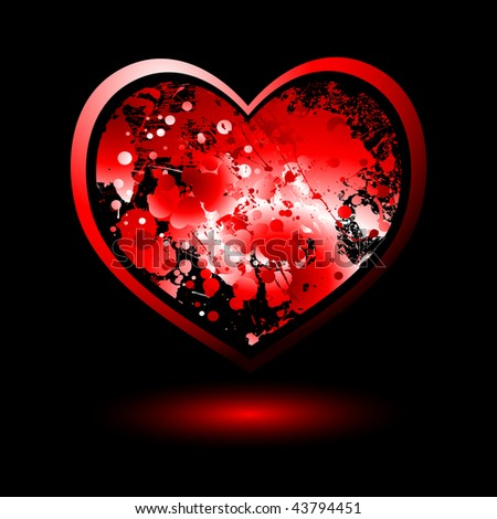 stock vector : Red love heart with ink splat and drop shadow and outline
