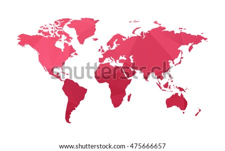 red low poly world map vector #475666657