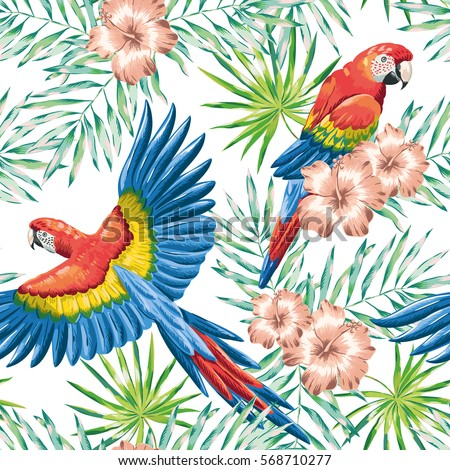 Red macaw parrots with green palm leaves and pink hibiscus flowers on the white background. Vector seamless pattern. Tropical illustration with birds and plants.