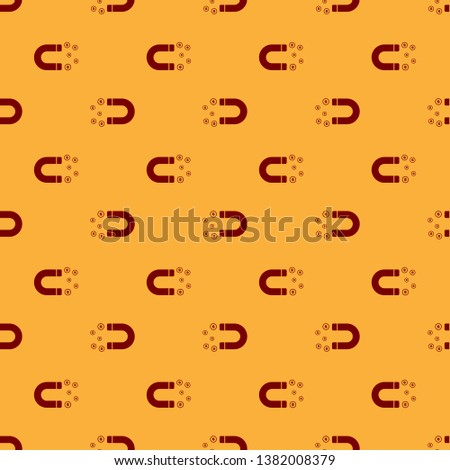 Red Magnet with money icon isolated seamless pattern on brown background. Concept of attracting investments, money. Big business profit attraction and success. Vector Illustration