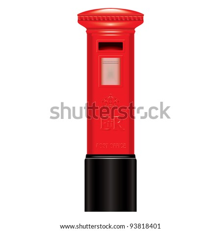 Red Mail Box -  England - London - Icon - very detailed isolate vector illustration