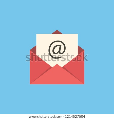 Red mail sign icon or envelope icon on a blue background for website design in flat style. Newsletter icon, message icon. Vector illustration, eps10