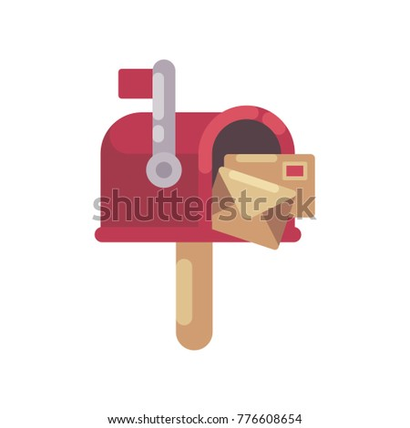 Red mailbox with letters flat illustration. Christmas mailbox icon