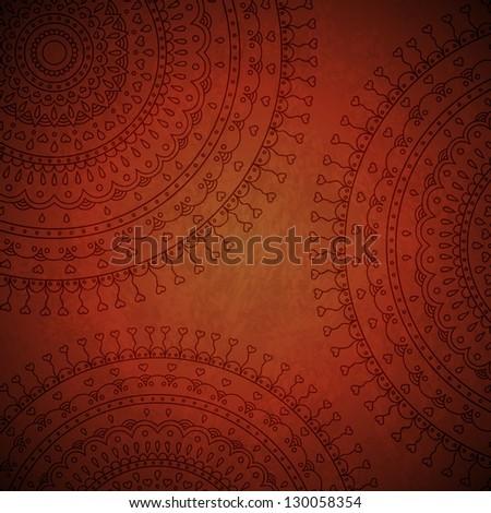 Red mandala ornament background. Vector image.