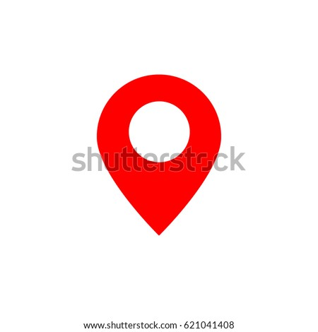 Red Map Icon, sign -  vector illustration