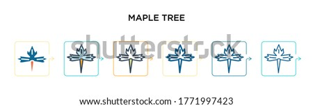 red maple tree vector icon in 6