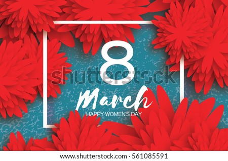 Red 8 March. Floral Greeting card. Happy Women's Day. Paper cut flower holiday background with square Frame and space for text. Origami Trendy Design Template. Happy Mother's Day. Vector illustration