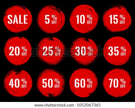 Red marketing banners for sale vector collection. Advertising banners with circle shape borders, frames, brush stroke background. Sale label, 50 percent off special offer tags, advert signs design.
