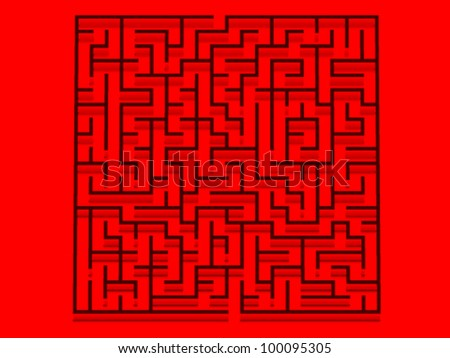 red maze vector - stock vector