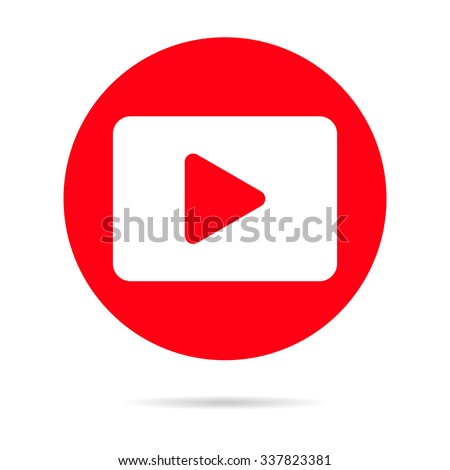 red media player icon with