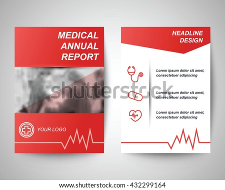 red medical annual report abstract flyer layout template, brochure background, leaflet with cover, vector design in a4 size for business