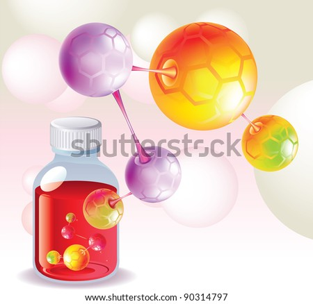 Red medicine, medicine bottle, and the color molecules