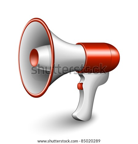 Red Megaphone Icon. Vector Illustration