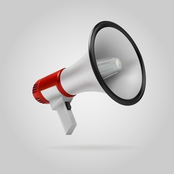 Red megaphone speaker or megaphone loudspeaker isolated on gray background. 3d vector illustration
