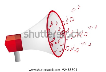 red megaphone with  music notes isolated vector illustration
