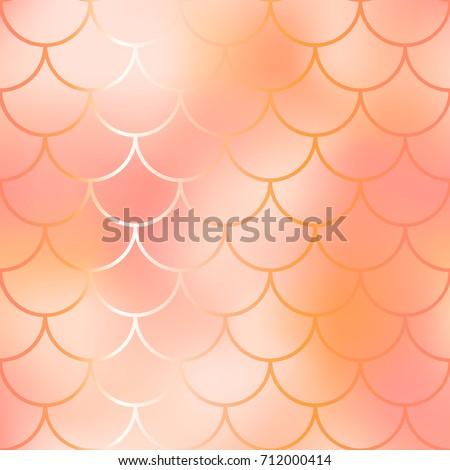 red mermaid seamless pattern