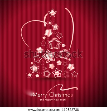 Red Merry Christmas Card With Christmas Tree. - stock vector