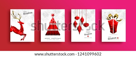 Red Merry Christmas greeting card set. Xmas pine tree reindeer and gift box illustration in low poly style on sky fireworks background.
