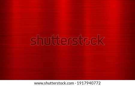 Red metal technology horizontal background with polished, brushed texture. Red metal texture background background, foil texture, shiny and metal steel gradient template. Vector illustration EPS10.